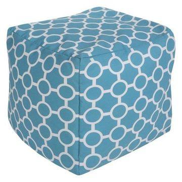 Surya Cube Pouf Ottoman, Aqua