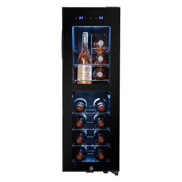 AKDY 16 Bottle Dual Zone Wire Shelves Freestanding Compressor Wine Cooler