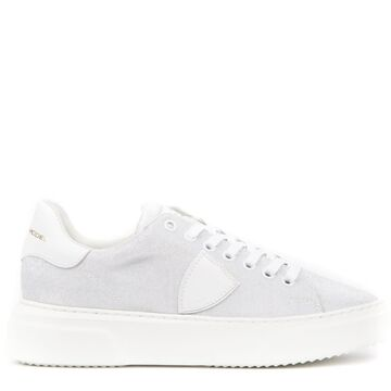 Philippe Model White Lurex Fabric Sneakers