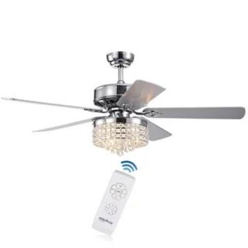 Letta Chrome 52-Inch 4-light 5-Blade Lighted Ceiling Fan Crystal Shade 2 Blade Colors (Optional Remote) (Remote)