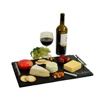 Sardo Natural Slate Write On Serving Tray with 2 Soapstone Chalk