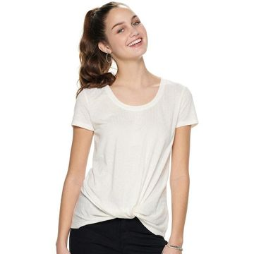 Juniors' Candie's Short Sleeve Knot Front Tee