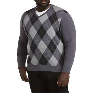 Big & Tall Harbor Bay V-Neck Argyle Sweater - Black Multi