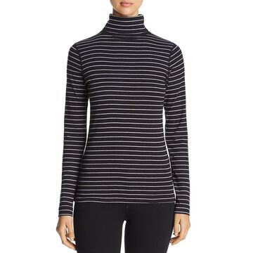 Three Dots Womens Striped Long Sleeves Turtleneck Top
