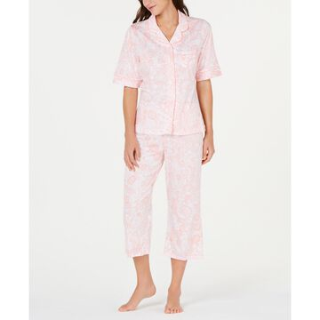 Paisley-Print Short-Sleeve Top and Cropped Pajama Pants Set