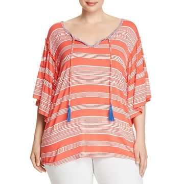 Cupio Womens Plus Ruffled Tie-Front T-Shirt