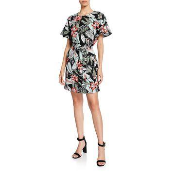 Floral-Print Casual Sheath Dress