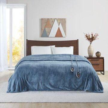 Beautyrest Heated Microlight to Berber Solid Blanket, Twin, Blue