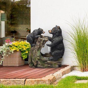Alpine Cute and Whimsical Bear and Cub Fountain Without Light, 26 Inch Tall