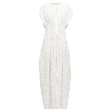 The Row - Tamy Textured Raw-edge Zip-through Midi Dress - Womens - Ivory