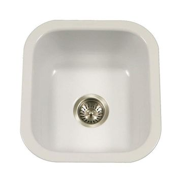 HOUZER Porcela 15.625-in x 17.3125-in White Single-Basin Undermount Residential Kitchen Sink