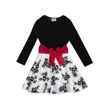Rare Editions Big Girl Velvet Long Sleeve Bodice To Burnout Organza Flock Skirt