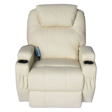 HOMCOM Massage Heated PU Leather 360 Degree Swivel Recliner Chair with Remote