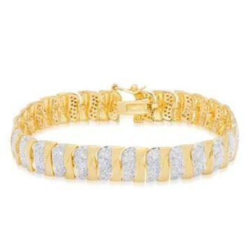 Finesque Sterling Silver 2 4/5 ct TDW Diamond Stripe Bracelet (Yellow)