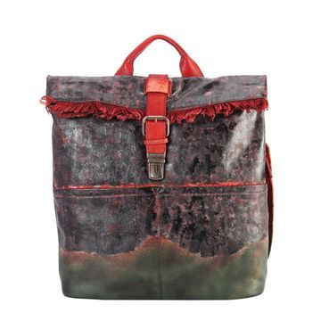 Diophy Genuine Leather Archaize Fringe with Buckle Backpack
