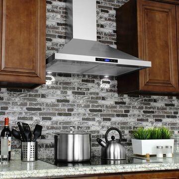 AKDY Silvertone Stainless Steel 30-inch Wall-mount Range Silver
