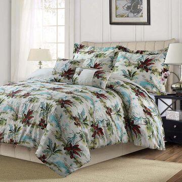 Tribeca Living Paradise Island 5-Piece Oversized Comforter Set, Red, Queen