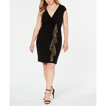Plus Size Metallic-Ruffle Wrap Dress