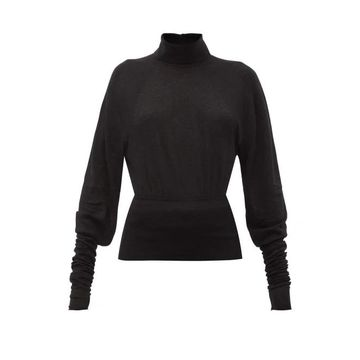 Lemaire - Button-collared Stretch-jersey Roll Neck Sweater - Womens - Black