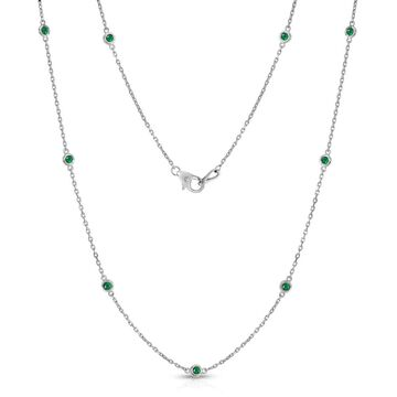 Noray Designs 14K White Gold 1 Ct Emerald 10 Station Necklace, 18 Inches