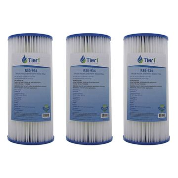Tier1 R30-BB 30 Micron 10 x 4.5 Pleated Polyester Sediment Pentek R30-BB filter Comparable Replacement Water Filter 3-Pack