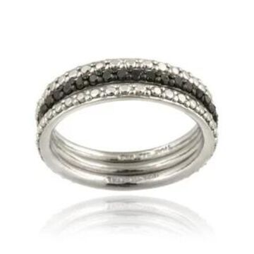 DB Designs Silver 2/5ct TDW Black or Brown Diamond Stackable Ring Set (Black - Size 6)