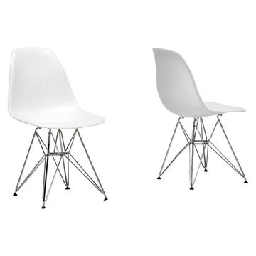 Plastic Side Dining Chair - White (Set Of 2) - Baxton Studio