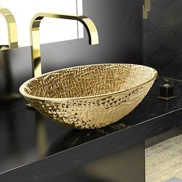 WS Bath Collections Crystal Lux OV Crystal Vessel Bathroom Sink - Gold
