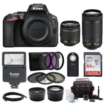 Nikon D5600 DSLR Camera w/ 18-55 & 70-300mm Lenses Bundle