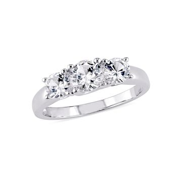 Modern Bride Gemstone Womens Lab Created White Sapphire 10K White Gold 3-Stone Engagement Ring