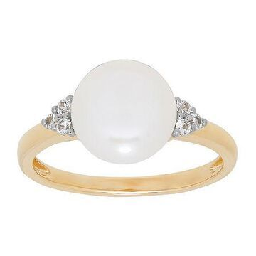 Certified Sofia Cultured Freshwater Pearl & Lab-Created Sapphire 14K Gold Cocktail Ring No Color Family