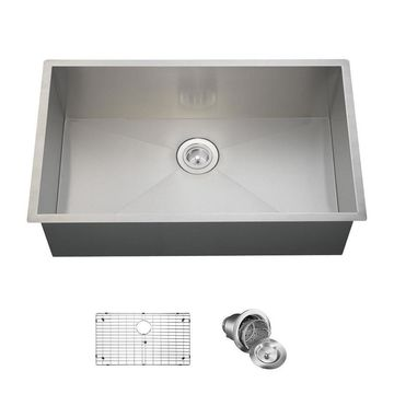 MR Direct 32-in x 19-in Stainless Steel Single-Basin Undermount Commercial/Residential Kitchen Sink