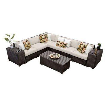 TK Classics Venice 9-Piece Outdoor Wicker Sofa Set, Beige
