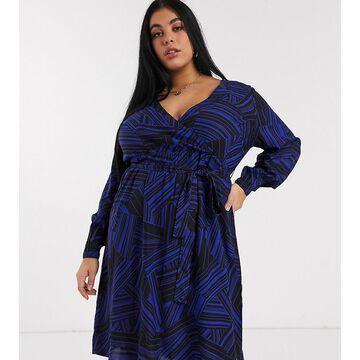 Junarose gathered waist dress in graphic print-Multi