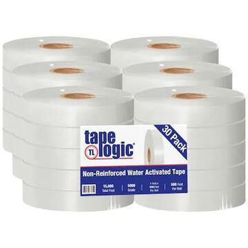 Tape Logic #5000 Non Reinforced Water Activated Tape, 1 x 500, White, 30/Case (T15000W) | Quill