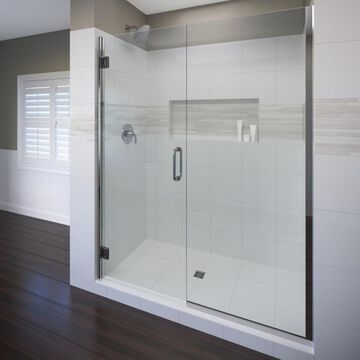 Basco Coppia 72-in H x 46.0625-in to 47.5625-in W Frameless Hinged Chrome Shower Door (Clear Glass)