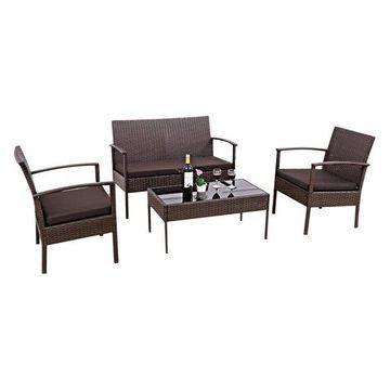 Costway 4 PCS Patio Rattan Wicker Furniture Set Brown Loveseat Sofa Cushioned