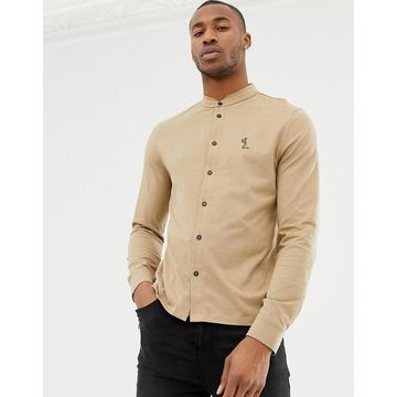 Religion skinny fit jersey shirt with grandad collar in camel