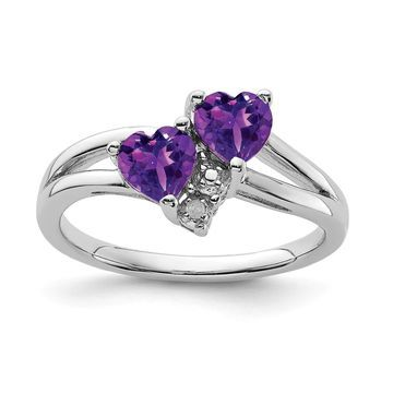Sterling Silver Rhodium-plated Amethyst Diamond Ring by Versil (6)