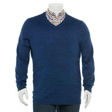 Big & Tall Apt. 9 Regular-Fit Merino V-neck Sweater, Men's, Size: 3XL Tall, Dark Blue