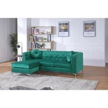 Pompano Velvet Button Tufted Sofa with Chaise (Green)