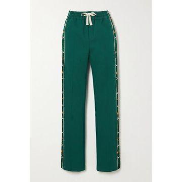 Casablanca - Apres Mer Embroidered Satin-trimmed Cotton-jersey Track Pants - Dark green