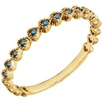 Auriya 10k Gold 0.06ctw Stackable Blue Diamond Wedding Band Ultra-thin (Yellow - 5)