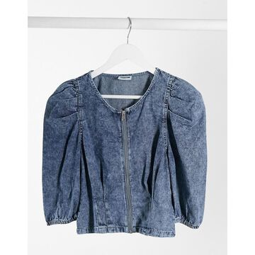 Noisy May cropped denim top with zip front in blue acid wash