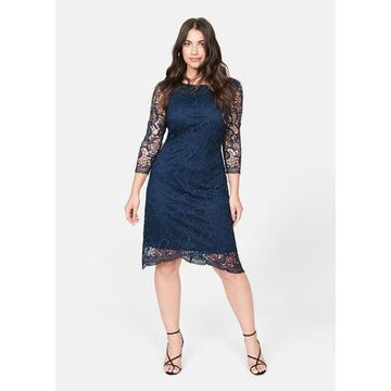 Violeta BY MANGO - Guipure dress navy - 18 - Plus sizes