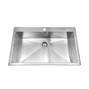 HOUZER Bellus 33-in x 22-in Lustrous Satin Single Bowl Drop-In 1-Hole Residential Kitchen Sink