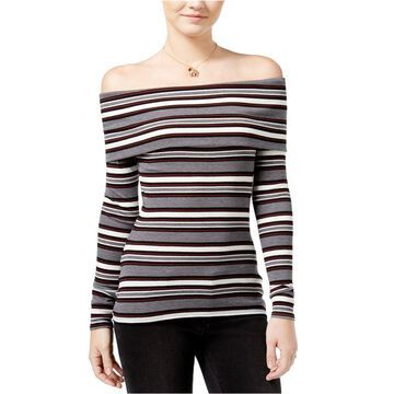 Hippie Rose Womens Striped Off The Shoulder Pullover Blouse