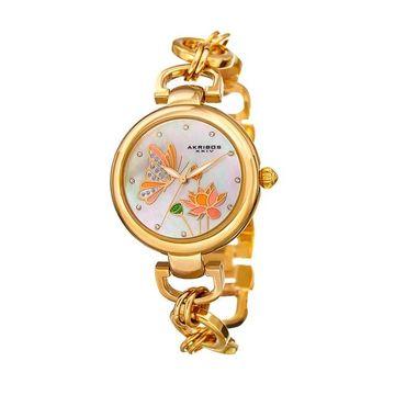 Akribos XXIV Women's Crystal Accent Butterfly & Flower Watch