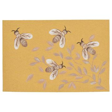 Liora Manne Illusions Bees Indoor Outdoor Mat, Gold, 19.5X29.5