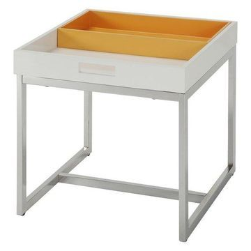 ACME Furniture Maisie End Table in White and Chrome